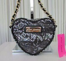 Betsey Johnson Sequin Lace Heart Crossbody Black Bag NWT