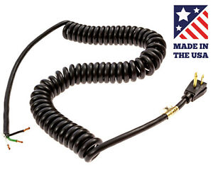 Kord King 1XNB8 Industrial Grade 3-Prong SJT 14/3 Coiled Power Cord - USA Made