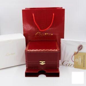 Luxury Wooden Cartier Watch Box Genuine Leather Red Case Authentic Set Women Men