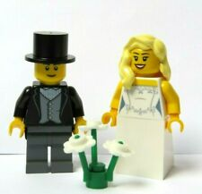 Lego Wedding Minifigure Figure Bride Blonde Hair & Groom Top Hat & Tails