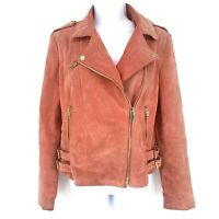 MANGO Pink Suede Leather Moto Jacket Size M Zip Faded Crop Gold Motorcycle Biker