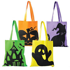 (LOT OF 4) Halloween Tote Bags  LARGE 15 x 16 inch Trick or Treat Tote Bags