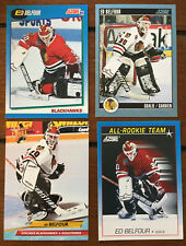 4 Ed Belfour Cards 1992-93 Ultra #32, 1992-93 Score #178 + 2 Chicago Blackhawks