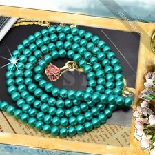 stunning 140pcs 6mm Pretty Aquamarine Blue Faux Glass Round Pearl Loose Beads