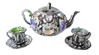 Crystocraft Crystal Tea Pot and Tea Cup Set Ornament Swarovski Elements Boxed