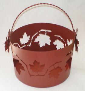 "Tender Heart Treasures Autumn Cutout Leaf Design Metal Bucket Basket   8"" Round"