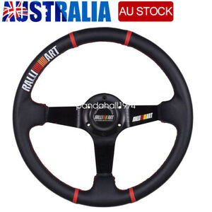 RALLI-ART 6 Bolt Aluminum Racing Steering Wheel PVC Sports Drifting Wheel AU