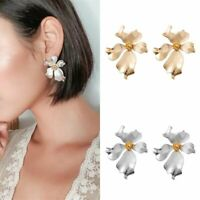 Charm Women Statement Big Flower Metal Ear Stud Earrings Dangle Jewellery Gift