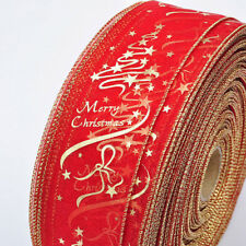 Merry Christmas Red Ribbon Xmas Tree Ornament Party Decorations 6.3 x 200cm
