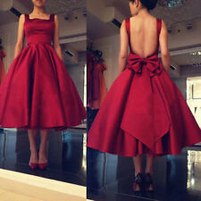 Vintage Red Tea Length Cocktail Prom Party Formal Dress Bow Bridesmaid Dresses