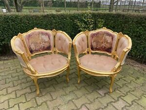 Beautiful set of two bergères in French Louis XVI style in velvet