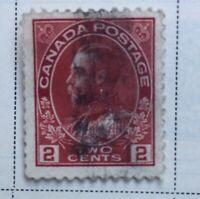 CANADA STAMP 106v 1918 2c DEEP RED KING GEORGE V ADMIRAL