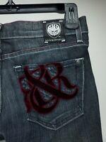 Rock & Republic Jean's Black Sz 27 Whiskered R&R Maroon Velvet on back Pockets