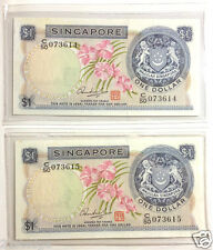 Singapore $1 Orchid Series Dollar 2 Piece Running Number Pair (HSS UNC)