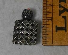 perfume scent bottle miniature sterling silver black glass France antique 1800