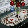 Hollow Embroidered Red Floral Flower Table Runner Tablecloth Cutwork Table Decor