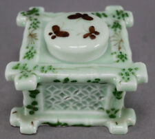 Japanese Export Hand Painted Foliage Celadon Green Porcelain Inkwell Circa 1900