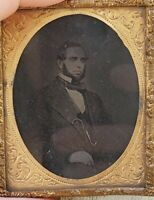 Antique Daguerreotype Man w Beard & Suit Photograph Photo