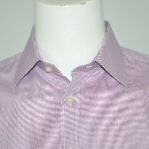 THOMAS PINK Slim Fit Red White Check Cotton Dress Shirt Sz 16 36/37