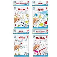 Educational Wipe Clean Books Worksheets Pen Primary School Tutor Help Learn Kids