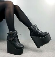 Women's Lace Up Punk Ankle Boots Platform Wedge High Heels Creepers Casual Shoes
