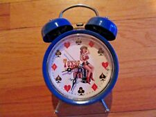 9H/Texas Hold 'Em Battery Twin Bell Alarm Clock/Works Great/Rare!