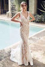 Gorgeous White/Nude V Neck Embroidered Lace Mermaid Wedding Dress, NEW, Size 6-8