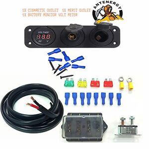 12V/24V DUAL Battery Box DIY kit 10M 6MM TWIN CORE 4 Way Fuse Volt Meter CAR