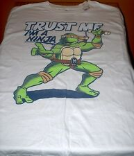 BOYS S/S TEENAGE MUTANT NINJA TURTLE SHIRT-L-WHITE-TRUST ME-I'M A NINJA