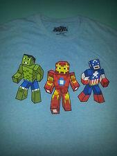 Marvel Pixel Hulk/Iron Man/Captain America Blue Tshirt Sz Adult Medium