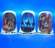 Birchcroft China Thimbles -- Set of Three -- Christmas Nativity - Three Wise Men