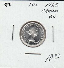 G3 CANADA 10c - 10 CENTS COIN 1963 BRILLIANT UNCIRCULATED - CAMEO FROSTED DESIGN