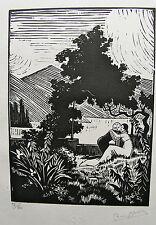 NOURY PIERRE. Idylle. Gravure sur  bois originale. 1929