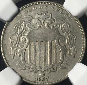 1867 With Rays Nickel NGC AU 55