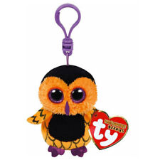 "Ty Beanie Babies Screech the Owl Halloween Trick or Treat 3"" Key Clip Keyring"