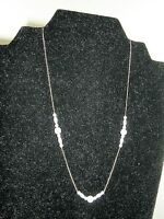 2073) Vintage Delicate Gold Tone Fine Chain Necklace W Tiny Pearl Sections 16""
