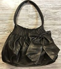 American Eagle BIG BOW DETAIL Black Faux Leather Dbl Straps Handbag Purse