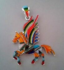 ADORABLE HORSE PEGASUS TURQUOISE/MULTICOLOR OPAL SPINY INLAY 925  SILVER PENDANT