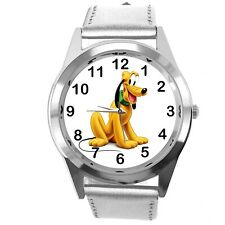 PLUTO DOG FILM CARTOON MICKY MOUSE FRIEND CD DVD TV GAME SILVER LEATHER WATCH