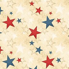 COLORS OF FREEDOM~WILMINGTON PRINTS~BY 1/2 YD~RED BLUE STARS ON CREAM~PATRIOTIC