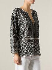 "NWOT ISABEL MARANT ""Barber"" Embroidered Intarsia Top SZ L Black Woven Shirt"