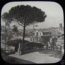 Glass Magic Lantern Slide ROME FROM THE PALATINE STEPS C1890 ROME ROMA