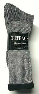 3 Pair Men's Gray Merino Wool Cushioned Bottom Work / Boot Sock Size13-15.