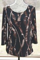 Chico's Size 0 Black Brown Cream Abstract Print 3/4 Sleeve Knit Long Top (AD)