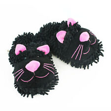 Black Cat Slippers - Aroma Home Fuzzy Friends Slippers - NEW