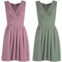 New Womens Ladies Sleeveless Tie Bow Detail Pleated Flared Skater Dress 8-14