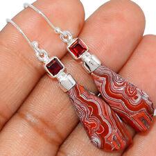 Mexican Laguna Lace & Garnet 925 Sterling Silver Earrings Jewelry AE163775