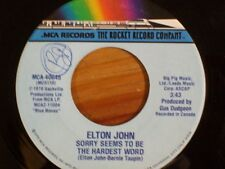 "ELTON JOHN 45 RPM ""Sorry Seems to Be the hardest Word"" ""Shoulder Holster"" VG"