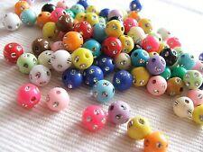 "25 x ""bling"" strass paillettes acrylique perles 8mm-Assortiment"
