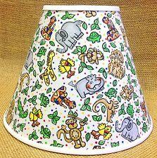 Jungle Animals on White Nursery Lamp Shade Handmade Lampshade